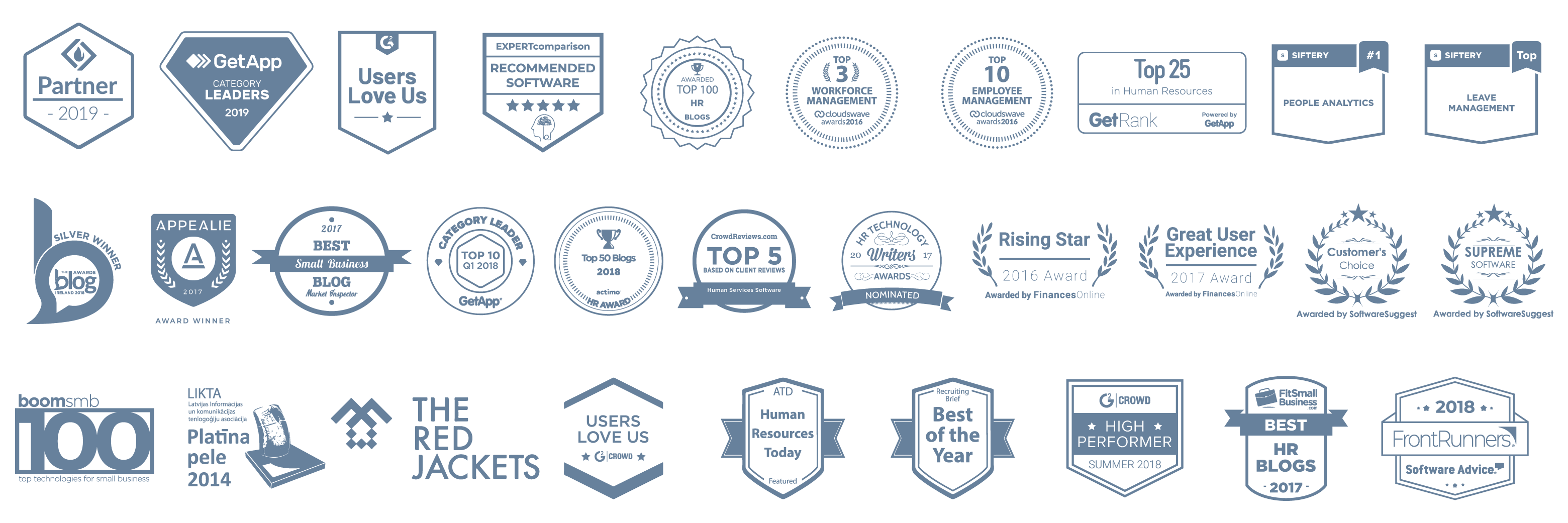 Logos of awards that Sage HR has received