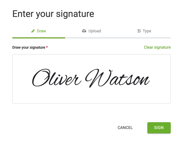 The user interface to digitally enter your signature