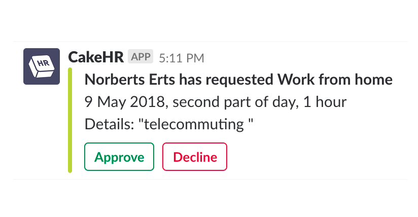 Example of managing leave requests direct from Slack