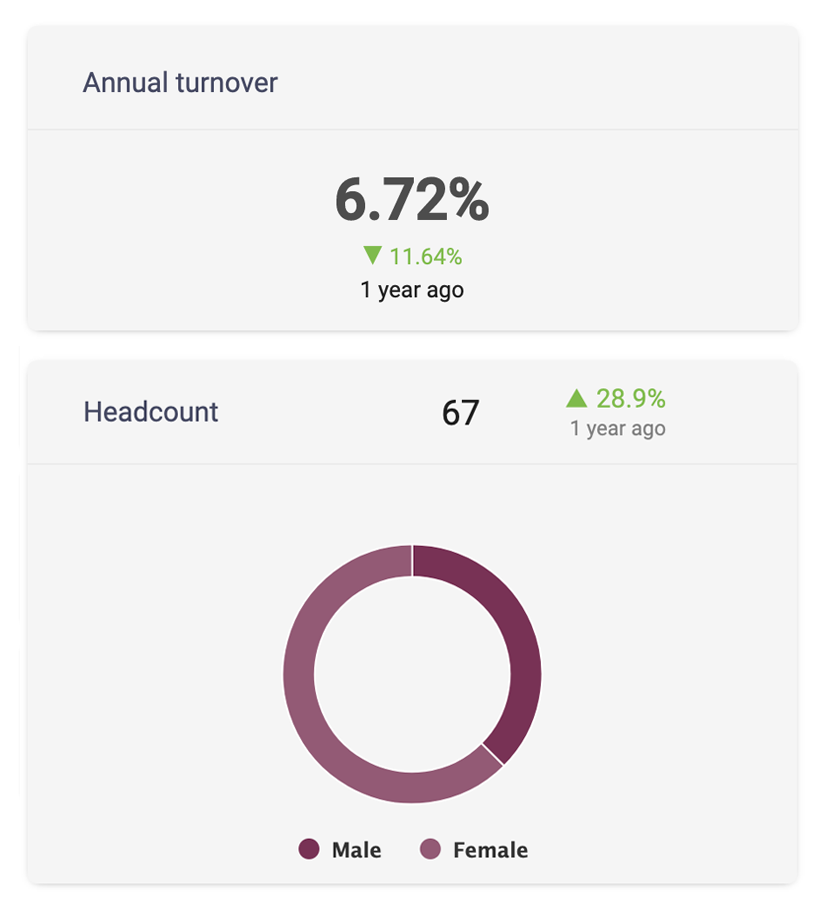 Reporting HR dashboard showing annual turnover and headcount