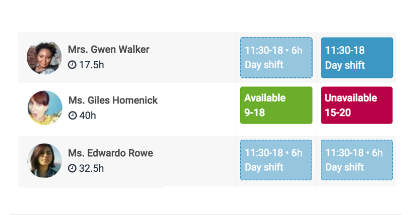A weekly shift schedule showing an individual employee's availability
