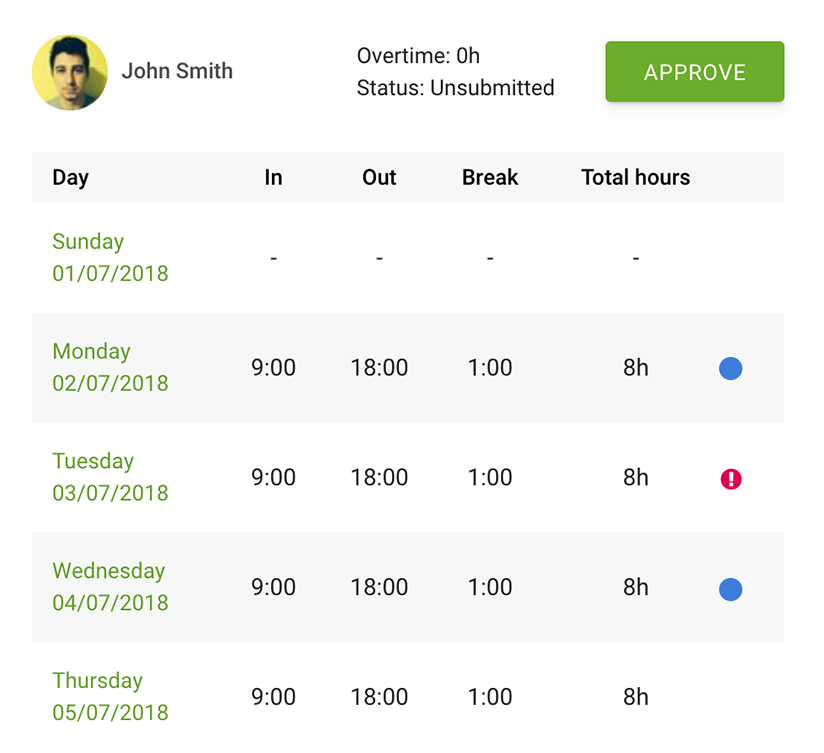Report showing an employee's timesheet in Sage HR