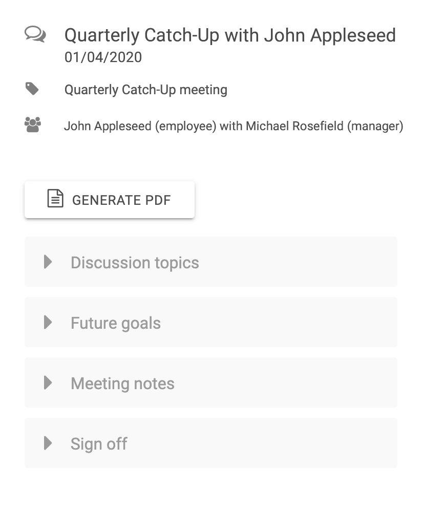 Overview of a 1-to-1 meeting in Sage HR