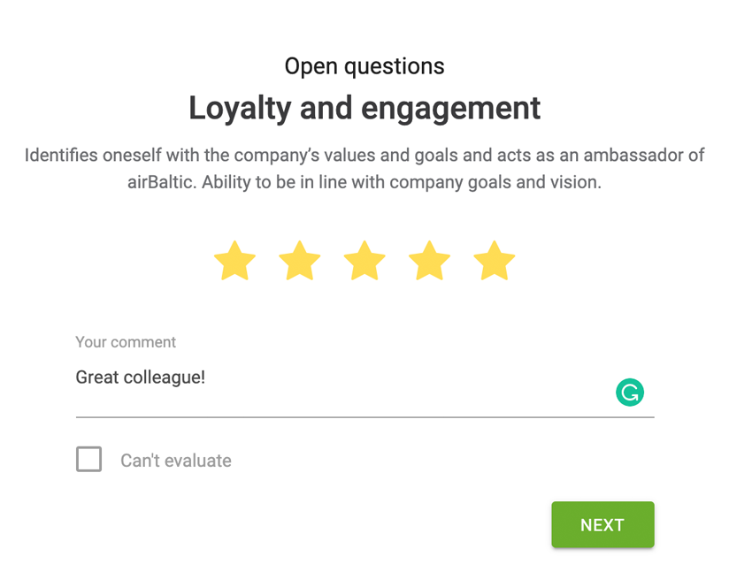 Survey interface to give quick feedback to your employees