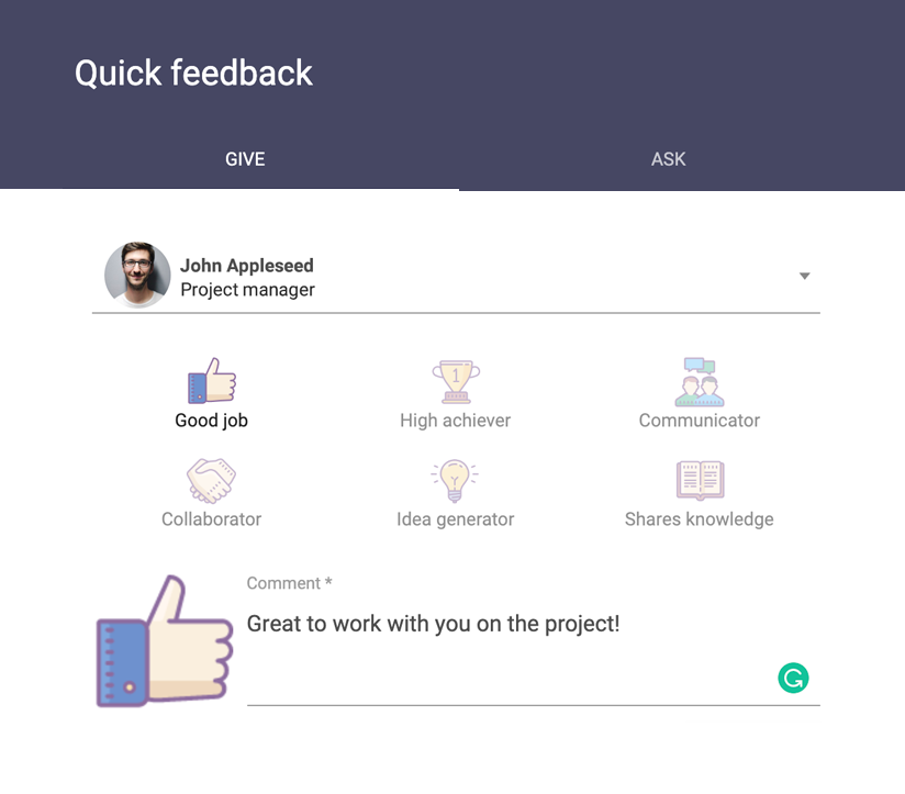 Sage HR interface to leave Quick Feedback to your colleagues