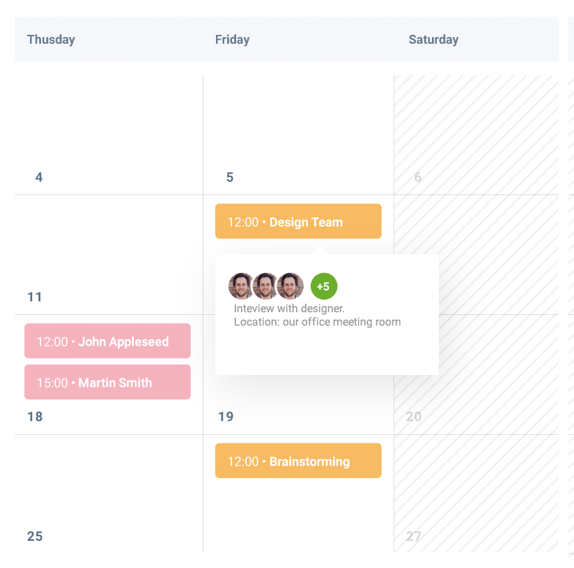 Calendar interface with interviews scheduled